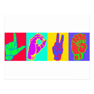 AMOR do linguagem gestual Cartão Postal
