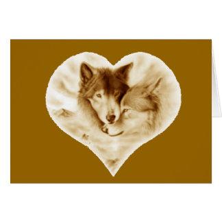 Amor do lobo cartão comemorativo