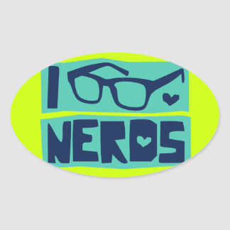 Amor do nerd adesivo oval