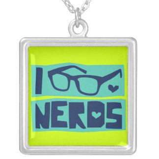 Amor do nerd colar com pendente quadrado