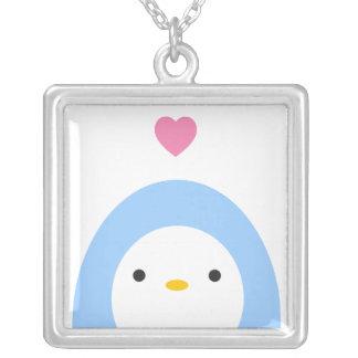 Amor do pinguim colar banhado a prata