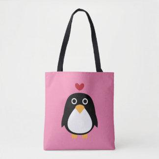 Amor do pinguim dos desenhos animados bolsa tote