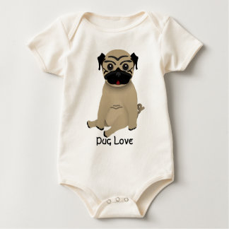 Amor do pug do bebê body para bebê