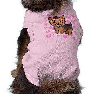 Amor do yorkshire terrier (cabelo curto com arco) camisa sem mangas para cachorro
