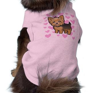 Amor do yorkshire terrier (cabelo curto nenhum camisa sem mangas para cachorro