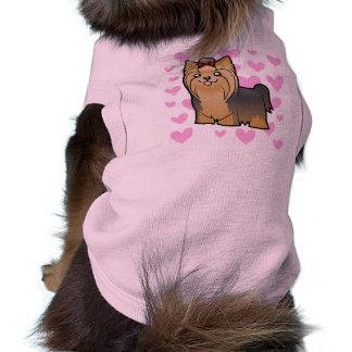 Amor do yorkshire terrier (cabelo longo com arco) camisa sem mangas para cachorro