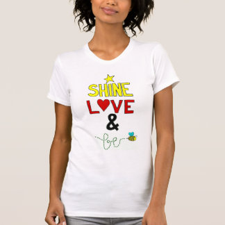 Amor e abelha do brilho t-shirt