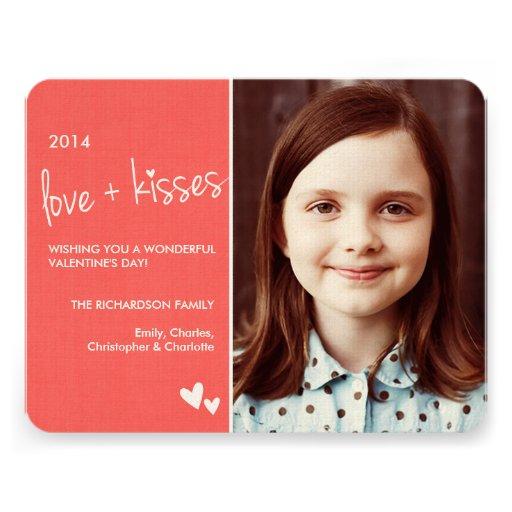 Amor e beijos do cartão com fotos do dia dos namor convites personalizado