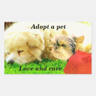 Amor e cuidado Dogs_ Adesivos Retangulares