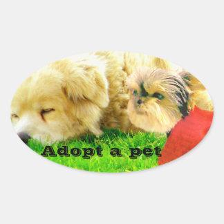 Amor e cuidado, Dogs_ Adesivos Em Formato Ovais