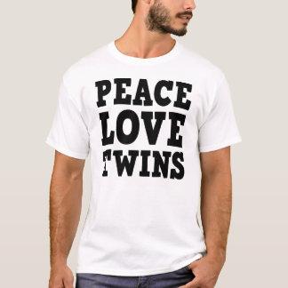 Amor e gêmeos da paz camiseta