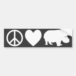 Amor e hipopótamos da paz adesivo para carro