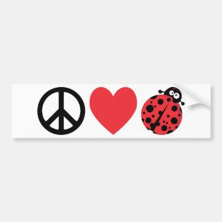 Amor e joaninhas da paz adesivo para carro