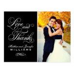 Amor e obrigado preto do casamento dos obrigados | cartão postal