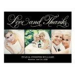 Amor e obrigado Wedding do cartão dos obrigados |  Cartoes Postais