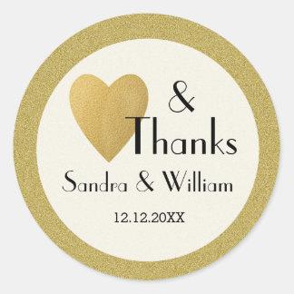 Amor e obrigados do brilho do ouro que Wedding Adesivo Redondo