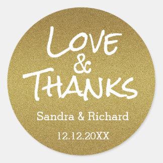 Amor e obrigados do brilho do ouro que Wedding o Adesivo Redondo