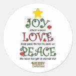 Amor e paz cristãos da alegria do Natal Adesivos Redondos