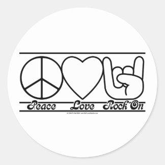 Amor e RockOn da paz Adesivo Em Formato Redondo