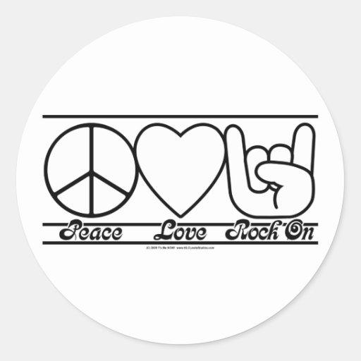 Amor e RockOn da paz Adesivo
