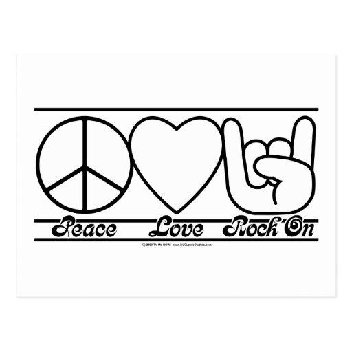 Amor e RockOn da paz Cartões Postais