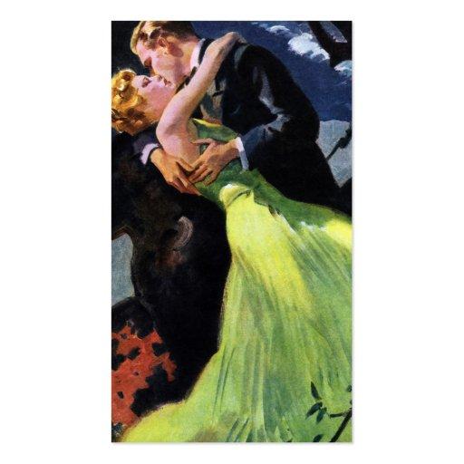 Amor e romance do vintage, beijo romântico cartão de visita