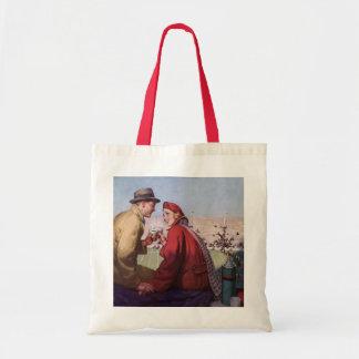 Amor e romance do vintage, casal no jogo de sacola tote budget