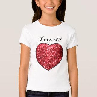 Amor ele impressão vermelho do coração do brilho t-shirts