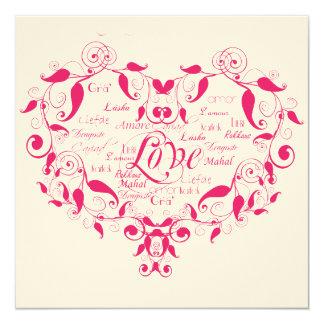 Amor em algum convite do casamento do rosa quente