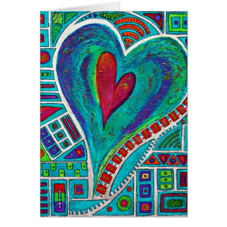 Amor em cada cartão de nota do coração