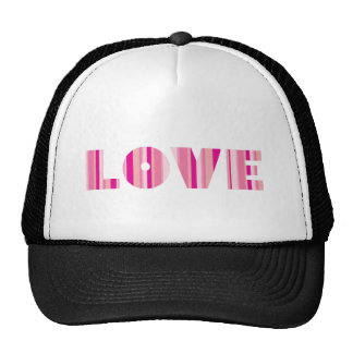 Amor em rosa listrado boné