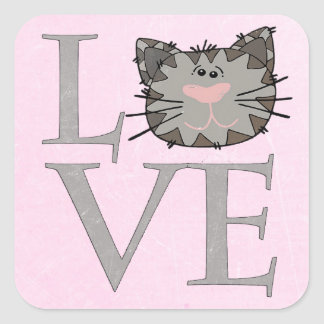 Amor, etiqueta cinzenta da cara do gato