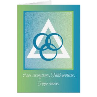 Amor, fé, esperança, incentivo religioso da cartão comemorativo