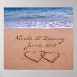 Amor feito sob encomenda no poster da praia com da