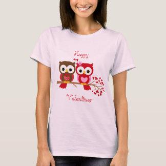 Amor feliz da coruja dos namorados camiseta