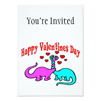 Amor feliz do dinossauro do dia dos namorados convite 12.7 x 17.78cm