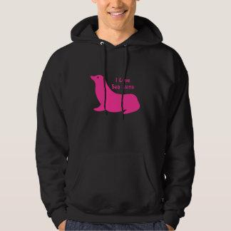 Amor feminino bonito do leão de mar do rosa quente moleton com capuz