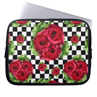 Amor floral do buquê das rosas vermelhas sleeve para notebook
