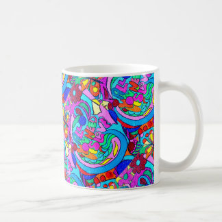 amor groovy do estilo do hippie da multi-cor caneca de café