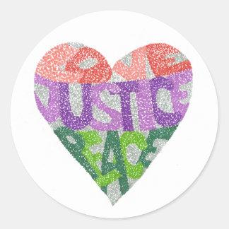 Amor, justiça, paz - etiquetas redondas