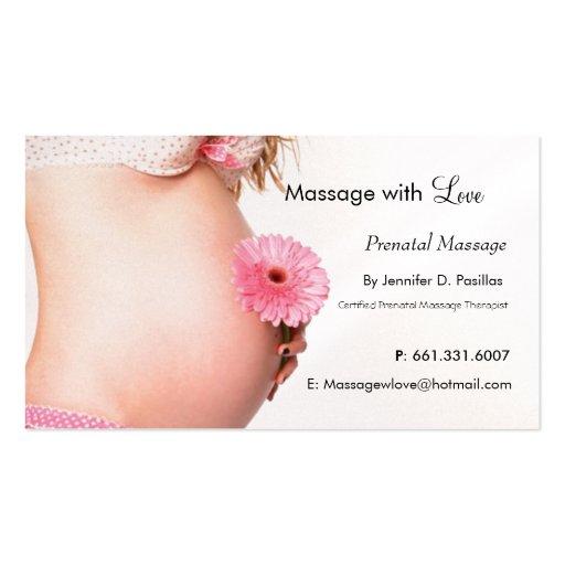 Amor, massagem pré-natal cartões de visitas