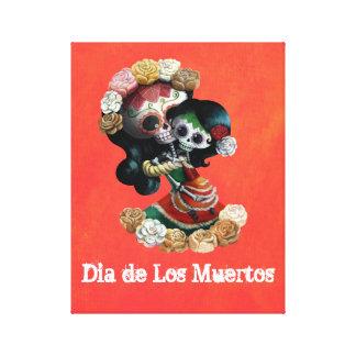 Amor maternal de esqueleto mexicano impressão em tela