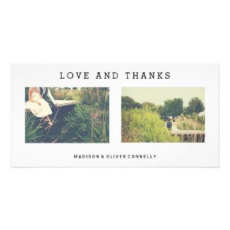Amor moderno e obrigados que Wedding a colagem da Cartão Com Foto