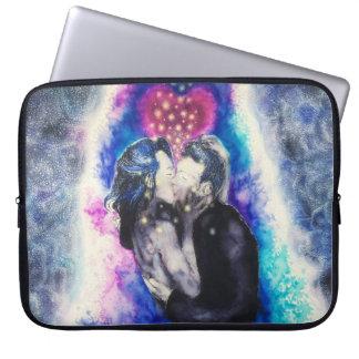 Amor na caixa preta e azul do laptop sleeve para laptop