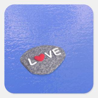 Amor na pedra - 3D rendem Adesivo Quadrado