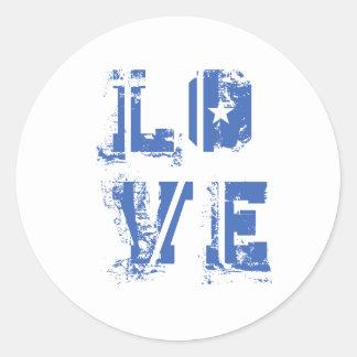Amor no azul urbano sujo adesivos em formato redondos