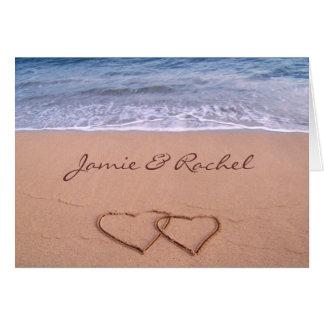 Amor no cartão da praia