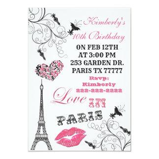 Amor no convite de festas da torre Eiffel de Paris