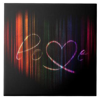 Amor no coração do arco-íris azulejos de cerâmica
