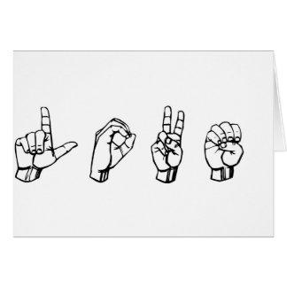 Amor no linguagem gestual cartão comemorativo